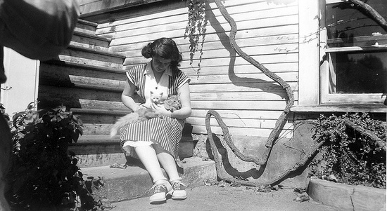 I adore vintage photos that warm the heart, and this darling 1940s shot of a young woman cradling a cat and kitten does just that. #vintage #cats #kittens #1940s