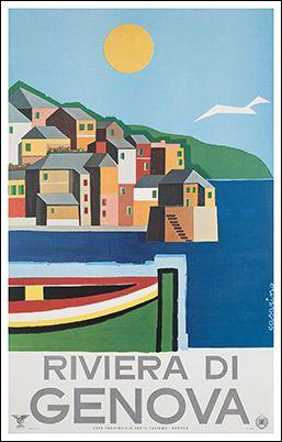 Riviera di Genova, Italy #travel #poster by Roy Vercelli 1965