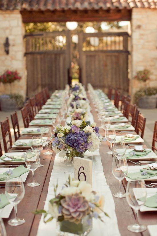 Gorgeous farm table design Photography by Carlie Statsky Photography / carliestatsky.com, Wedding Design + Planning by Amy Byrd Weddings / amybyrdweddings.com, Floral Design by Fleurs du Soleil / kimenglandflowers...