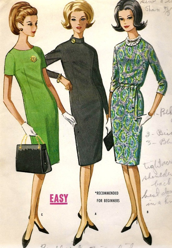 1960s Junior Slim Dress with 3 Collar Styles