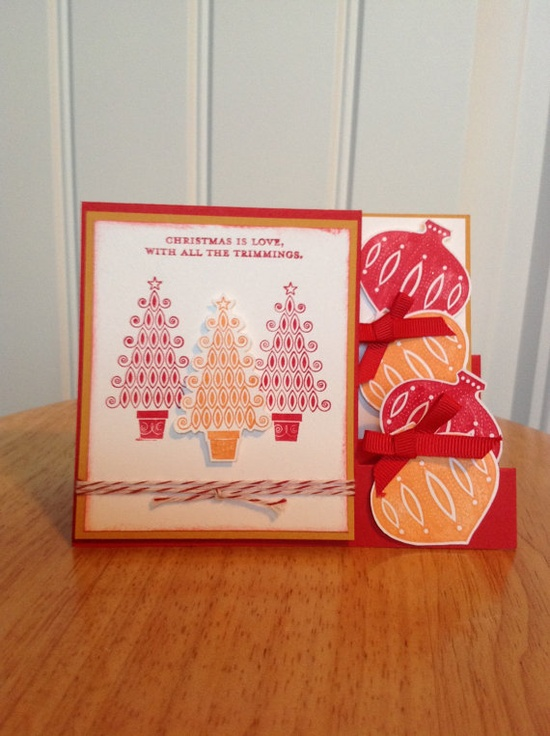 Stampin Up Christmas card - side step ornament card Etsy.