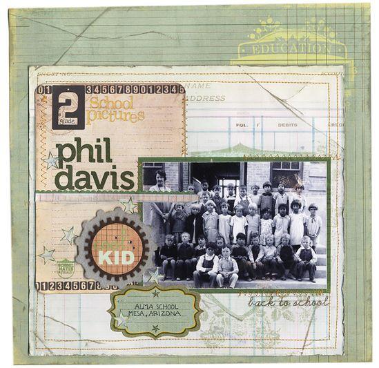 Old School Pictures: Phil Davis - Scrapbook.com - #scrapbooking #layouts #timholtz #7gypsies #pinkpaislee