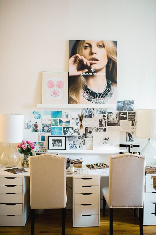 Glamor meets function in this home office.  home decor and interior decorating ideas.