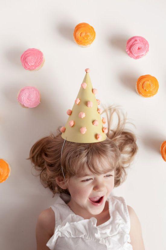 Paper Pom Pom Party Hats DIY