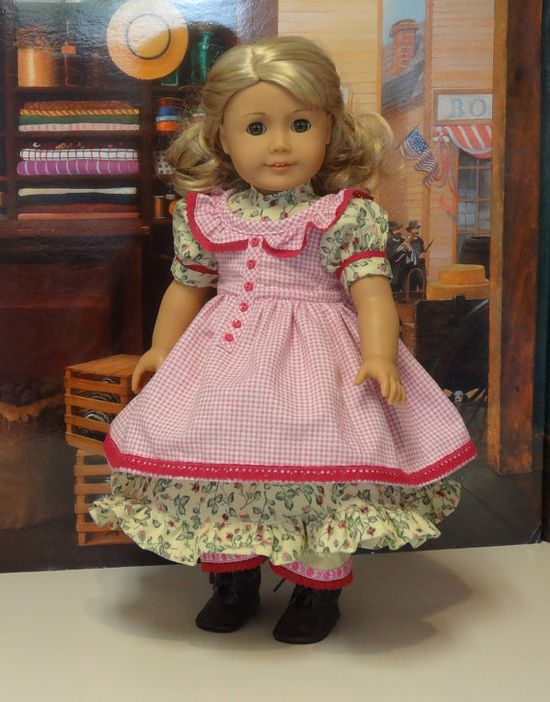 Gingham Garden - 1850's prairie dress and pinafore for American Girl doll