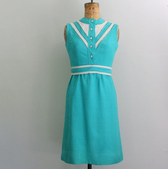 1960s teal linen dress by Eleanor Brenner