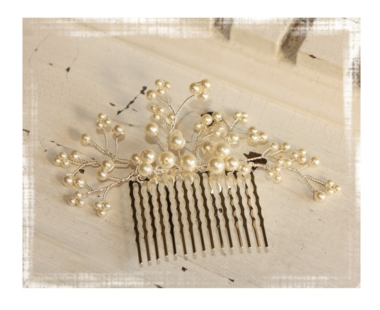 Pearly Hair Comb with Crystals.  via Etsy.