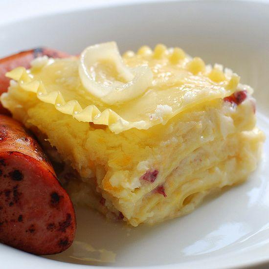 Cheddar & Potato PIerogi Lasagna by omnomicon #Lasagna #PIerogi #Potato #Cheese
