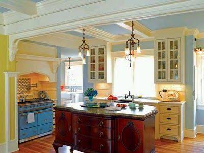 Convert a dresser into a kitchen island...hmmm...I like!
