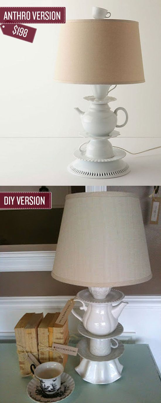 Make your own tea cup lamp for less. I 38 Anthropologie Hacks