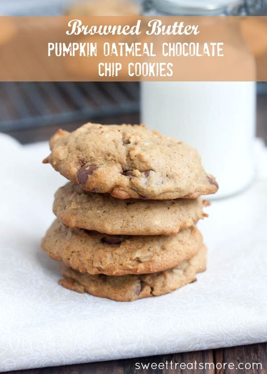 Browned Butter Pumpkin Oatmeal Chocolate Chip Cookies ...yum!