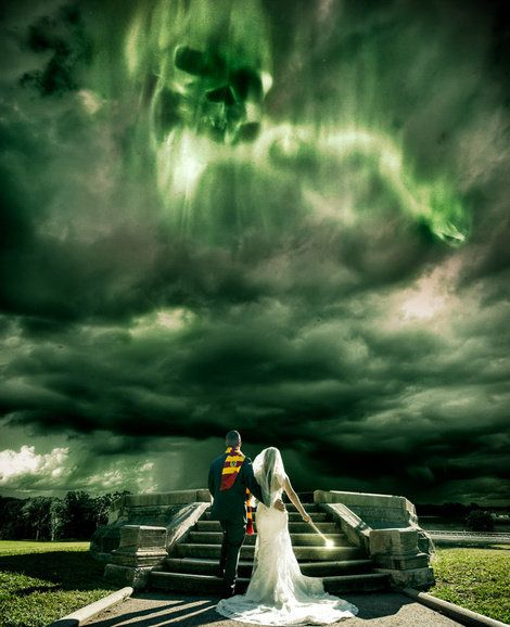 An epic Harry Potter version of a wedding photo.