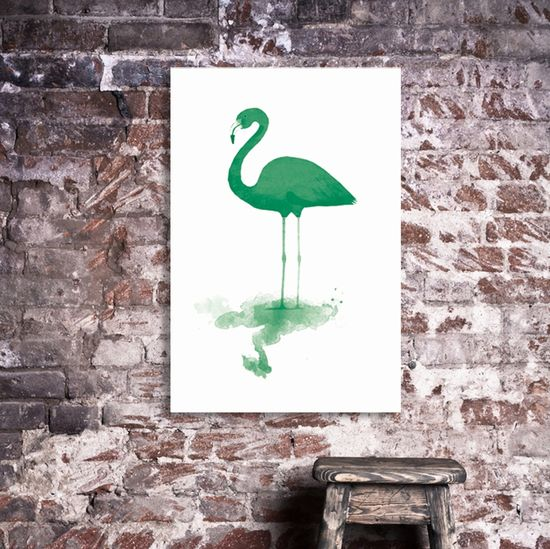 Green Flamingo Canvas  #hardtofind. #print_on_canvas #print #art #flamingo #green #green_flamingo #canvas #decor