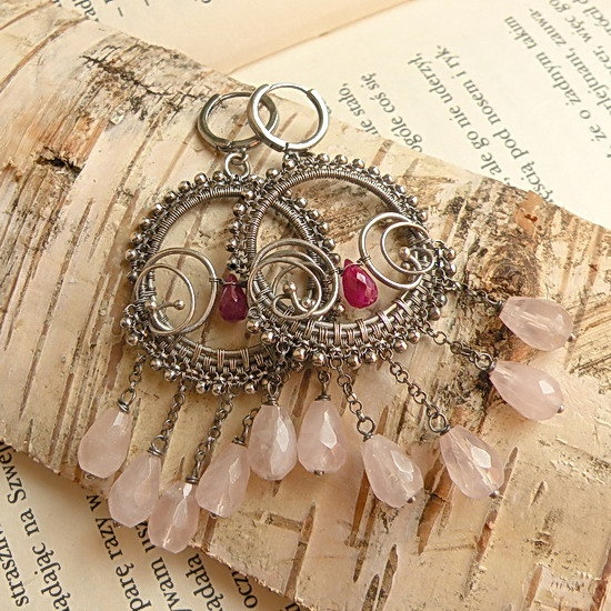 silver wire wrapped earrings with pink quartz and ruby