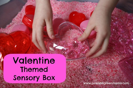 Pink and Green Mama: Valentine's Day Themed Sensory Box (with pink scented rice!)