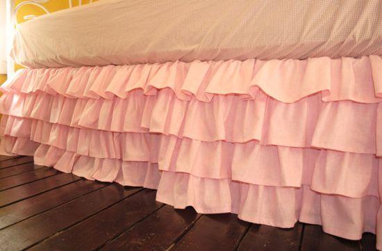 Pink Ruffled Bed Skirt by PaulaAndErika on Etsy, $170.00