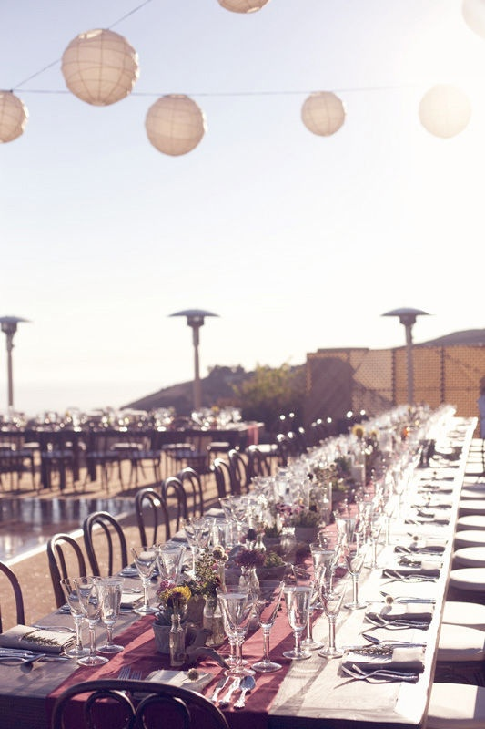 Lovely long outdoor tables. Annie McElwain Photography.