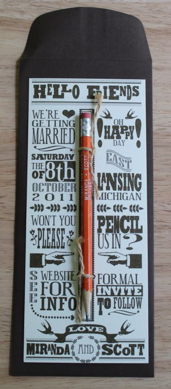 Pencil us in, #wedding invite