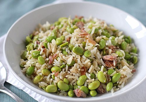 Rice with Edamame and Prosciutto