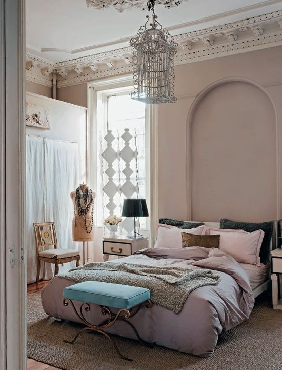 blush bedroom, but I love that ottoman