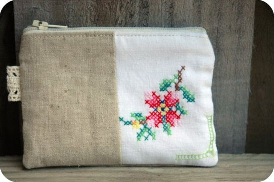 Zippered Pouch with Vintage Embroidery and Natural Linen