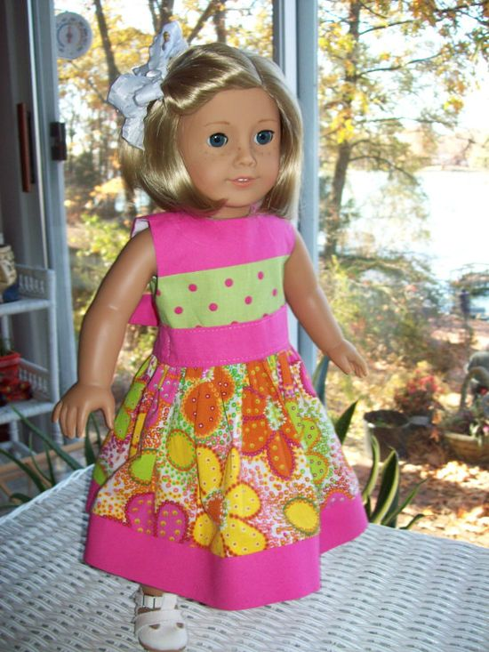 American Girl doll dress  18 inch doll dress floral