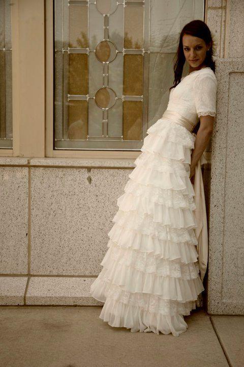 Tiered ruffles #bridal #wedding #modest #modest #wedding #dress #sleeves