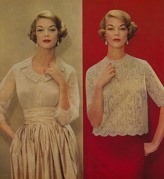 Sweetly elegant holiday season blouses from 1958. #fashion #clothing #vintage #holidays #Christmas #1950s #50s #fifties