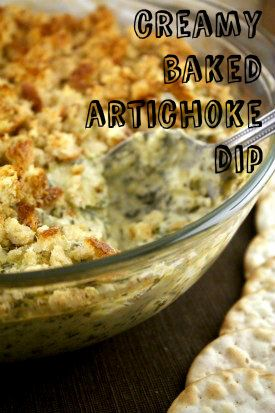 Creamy Baked Artichoke Dip.  Shop for the ingredients with the Voice Shopping List Maker, SmartShopper.  www.smartshopperu...