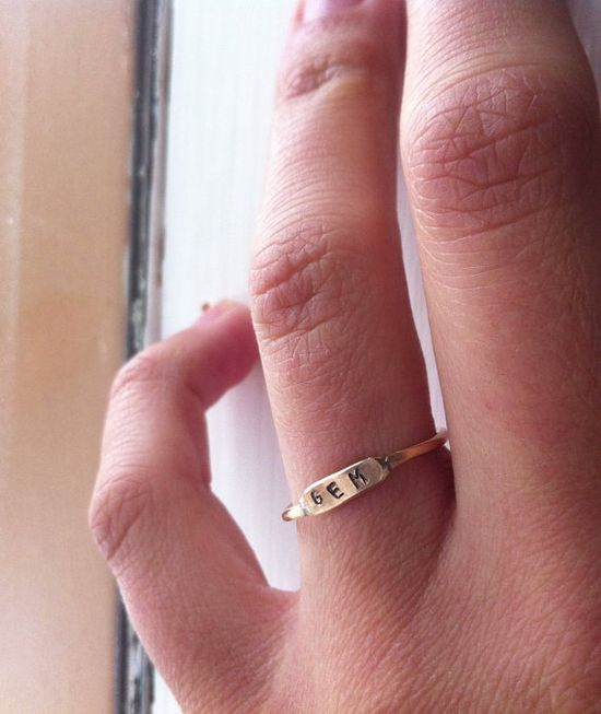 Yellow Gold, Sterling Silver, or Rose Gold ID Ring on Etsy, $39.00