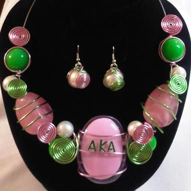 AKA pink and green statement necklace set
