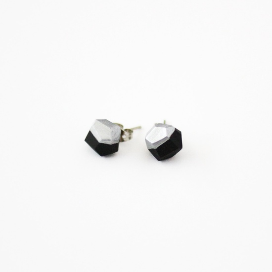 black silver dipped earrings by AMM Jewelry