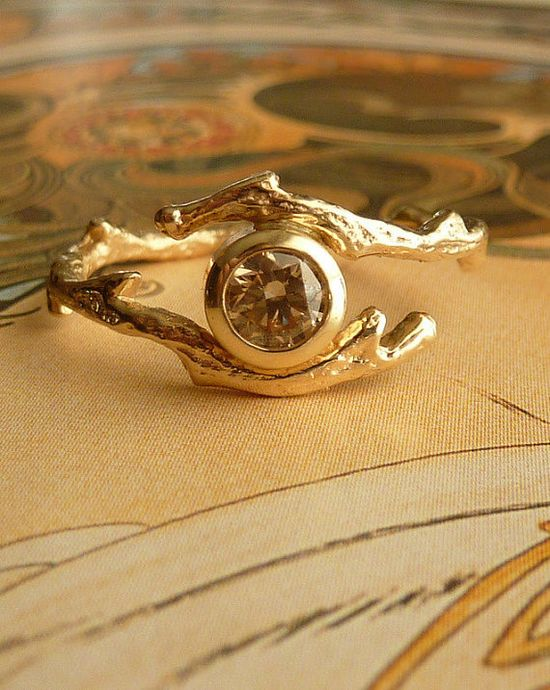 Branch Ring with Champagne Diamond by kateszabone on Etsy, $1195.00
