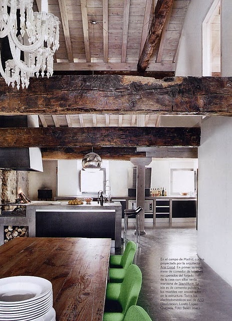 reclaimed wood and chandelier