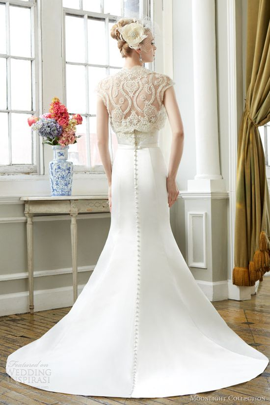 moonlight bridal collection fall 2013 style j6271 wedding dress short sleeve lace bolero back detail