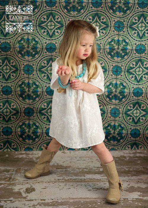 white cotton shift peasant dress