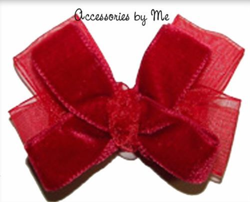 Velvet Baby Hair Bow Clip Fancy Festive Holiday Party Occasion Girls Accessory