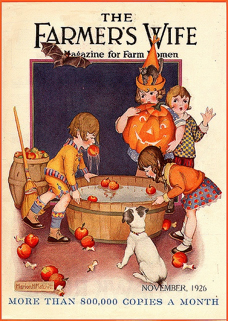 The Farmer's Wife--Everybody's Bobbin'--Vintage Halloween Magazine Cover
