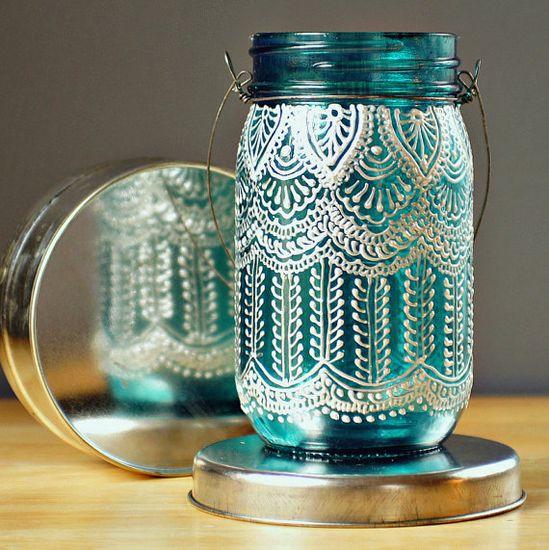Hand Painted Mason Jar Lantern (or modge podge lace on it)
