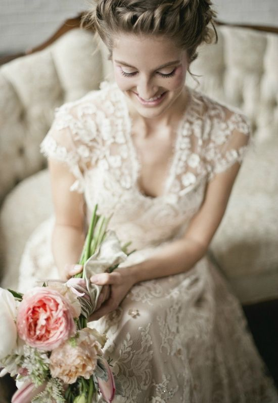 Love the off white lace dress with cap sleeves. Delicate, simple & romantic.
