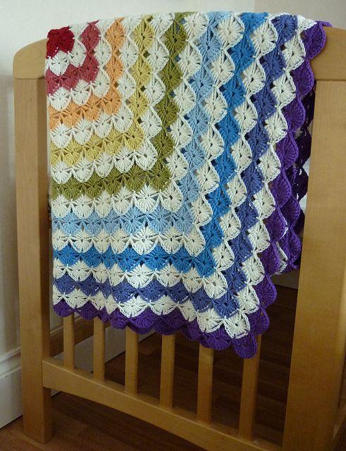 crocheted blanket.