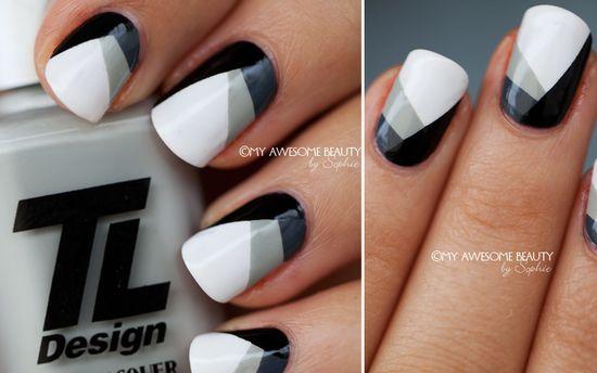 Geometric Black + White + Gray Nails