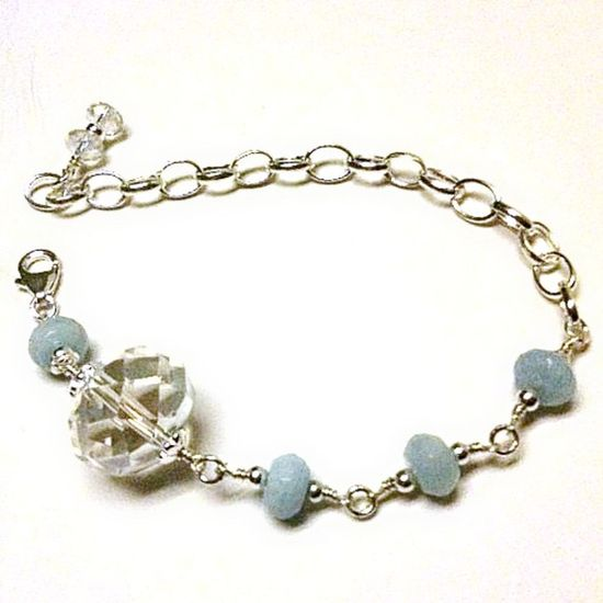 Aquamarine Bracelet March Birthstone Asymmetric Sterling by cdjali, $35.00