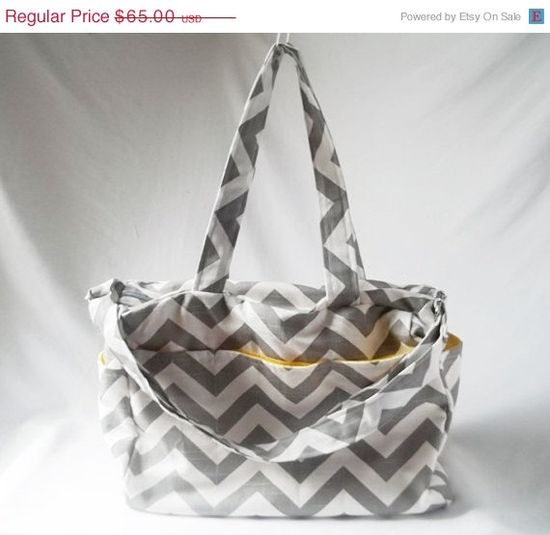 Summer Sale - Chevron diaper bag with zippered closure - Grey zig zag medium weekender - Made to Order on Etsy, $55.25