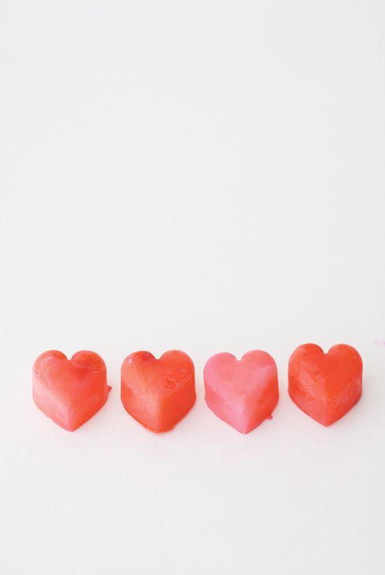 Heart-shaped milk cubes. Too cute!