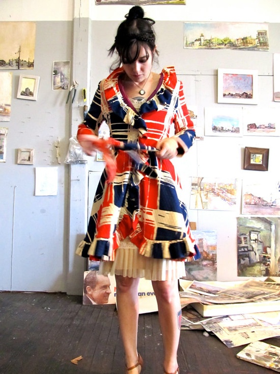 Mid-Century Color-Blocked Ruffle Coat from GinnyandHarriot on Etsy