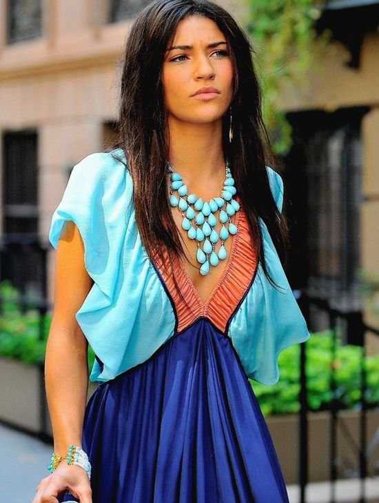 Love the necklace and colors!