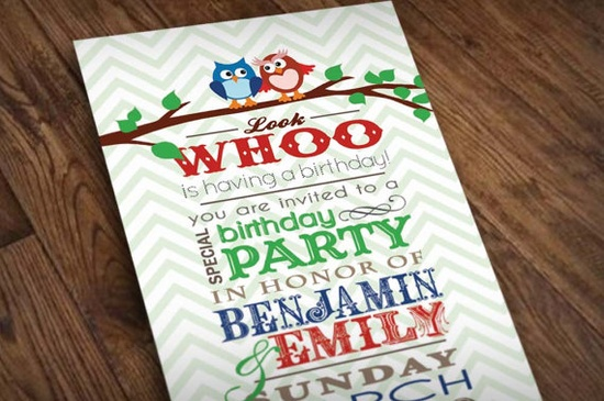 TWIN OWL Birthday Party Invitation in Blue and by PrintasticDesign, $15.00