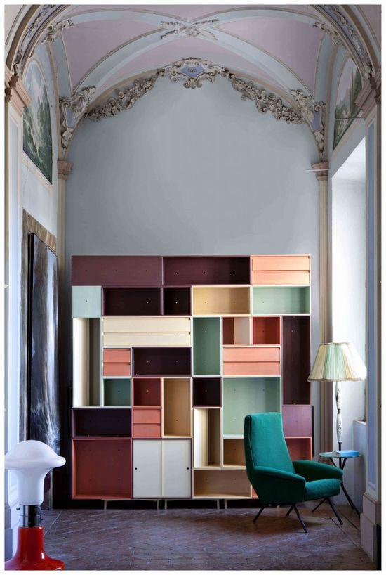 colorful modular shelving!