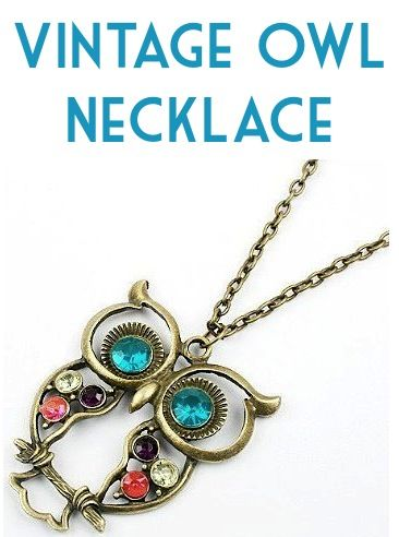 Vintage Owl Necklace: $0.75 + FREE Shipping!  {accessorize with some fun vintage bling, or grab a deal on a cute stocking stuffer!} #owls #necklaces
